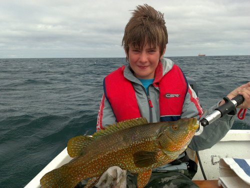 Cornwall Fishing Guide - Boy with Wrasse